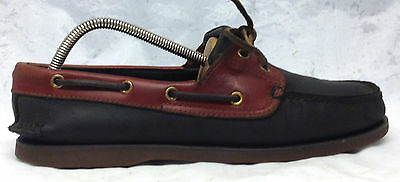 Timberland Sz 10 M US Men's Black Brown Leather Lace Up Boat Shoes