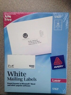 "Avery Easy Peel Shipping Label - 2"" Width X 4"" Length Permanent 1000 / Box NEW"