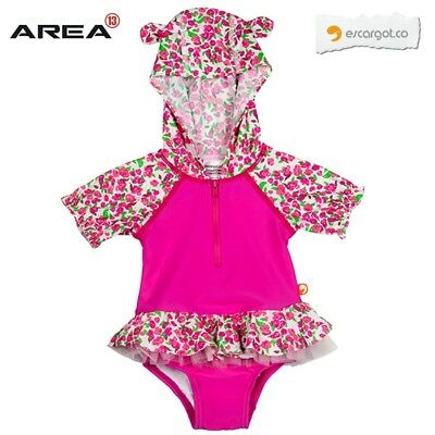 Escargot Rosebud Baby Hooded One Piece Swimsuit , Baby Swimwear