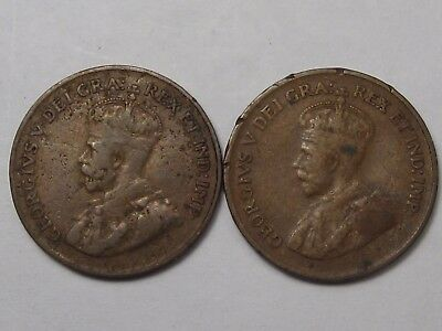 2 Better-Date Canadian Small Cent Coins: 1922 (Key) & 1924. Canada.  #42