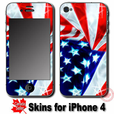 USA Flag SKIN STICKER DECAL COVER for Apple iPhone 4