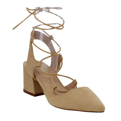 Women's Pointy Toe Lace Up Middle Covered Heel Strappy Dress Shoes NUDE Size 8