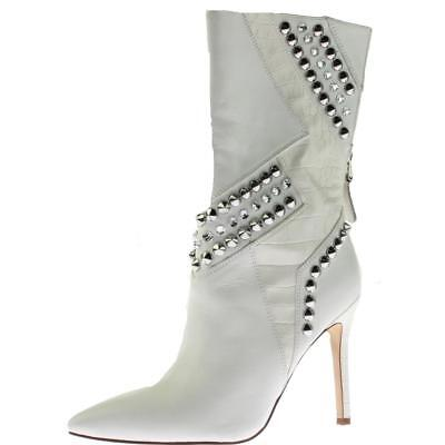 Guess 3952 Womens Nyx White Leather Mid-Calf Boots Shoes 6.5 Medium (B,M) BHFO