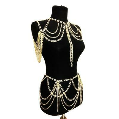 Fashion Gold Harness Necklace Pendant Tassel Shoulder Body Chain Jewelry Set