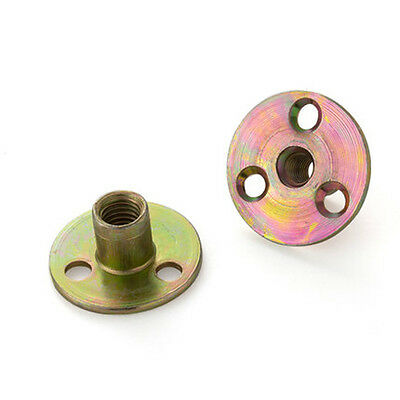 M6 M8 M10 Furniture T Nuts Three Hole Lock Nut Round Base Zinc Plated