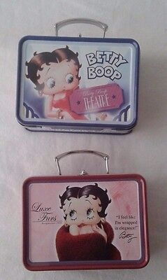 "2 Betty Boop 2006 Mini Tin Lunchpail 3.50"" x 2.50"""