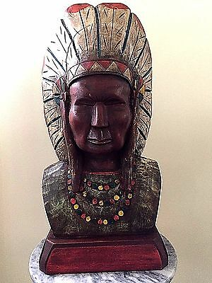 Native American Chief Wooden Carved Hand Painted Cigar Store Indian Statue