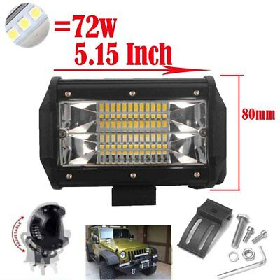 5Inch 72W LED Work Light Bar Flood Driving Lamp Jeep Truck Boat Offroad SUV 4x4