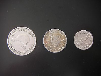 New Zealand Pre-decimal Coins - Florin, Shilling, Sixpence.
