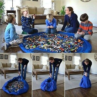 Portable KIDS Play Mat Toy Storage Bag Organizer Lego Play Mat Rug Box 3C