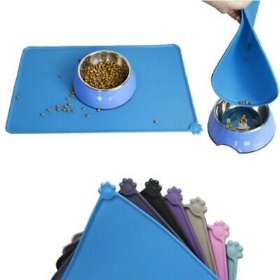 AU Pet Puppy Silicone Feeding Food Mat Dog Cat Non Slip Bowl Placemat Waterproof