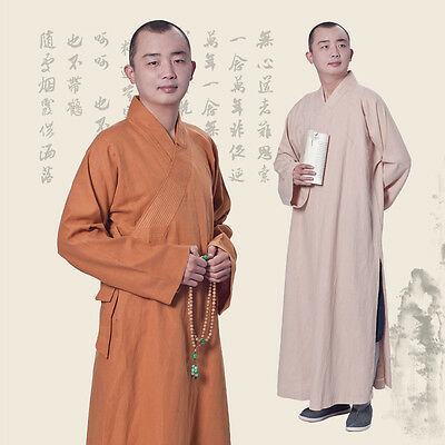 Buddhist Shaolin Unisex Monk Robe Cotton Linen Long Robes Gown Meditation Frock