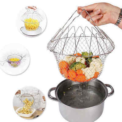 Foldable Steam Rinse Strain Fry Chef Basket Strainer Net Cooking Kitchen Tool