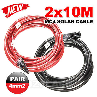 2x 10m Extension Cable Wire MC4 Connectors Solar Panel to regulator Cable 4mm2
