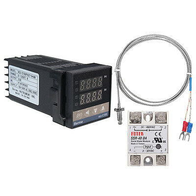 Digital LCD PID REX-C100 Temperature Controller Tool+ max.40A SSR K Thermocouple