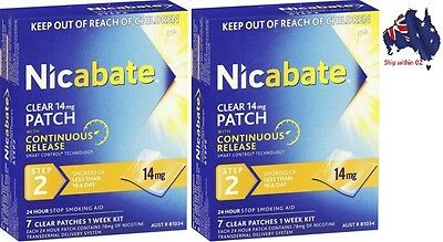 [AUSSIE~HOT~SALE] 2 x Nicabate Quit Smoking Patches Clear 14mg Step 2  7pk