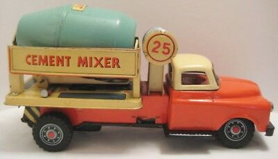 "Awesome Antique Tin Battery Op Cement Mixer Truck Big 10 1/2"" Japan 1950s Rare!"