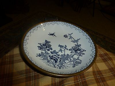 """Vintage LORD & TAYLOR Hand Painted Porcelain Brass Bowl 7 1/2"""" Made In Hong Kong"""