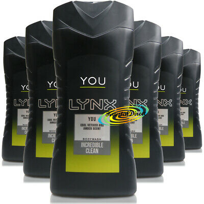 6x Lynx YOU Body Bath Wash Shower Gel For Men 250ml Refreshing Fragrances