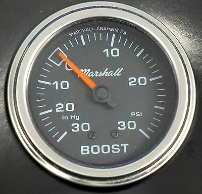 "Marshall Comp II 3011 Mecanical Vacuum Boost Gauge 2 5/8""  Black Dial 30HG 30PSI"