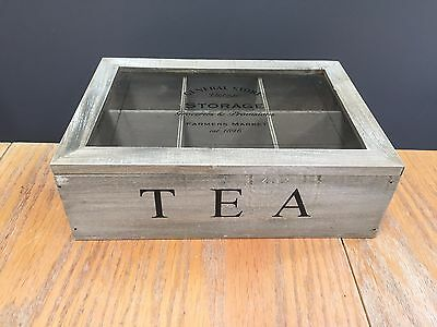 Natural Wood Tea Caddy Storage Holder Box With Glass Lid