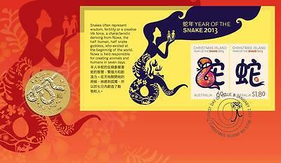 2013 Australia Year of the Snake $1 Coin - Stamp & Coin Cover..