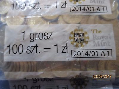 "ROYAL MINT 2013 POLAND 1 grosz - mint sealed bag of 100 ""golden"" coins FREE P&P"
