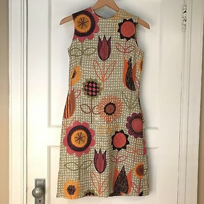 Vintage 1960s Craely Mod Floral Linen Shift Dress Sleeveless Size S 4/6