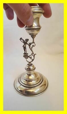 Silver 925 Cherubim Candlestick For Repair,interesting Design Circa 1920