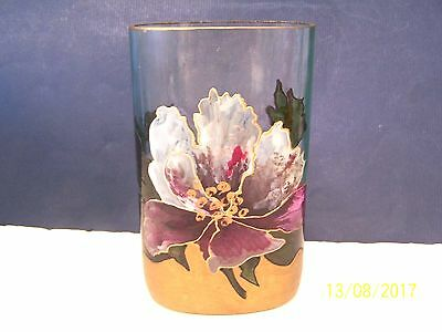 Art Glass Crystal Vase with Enameled ORCHID      N/R