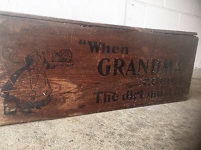 Antique Grandma's Soap Wood Advertising Box Crate Country Store Primitive