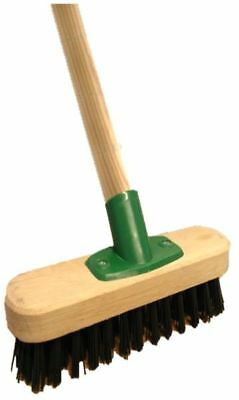 Heavy Duty Stiff Floor Scrubbing Deck Scrub Brush Yard Broom And Wooden Handle