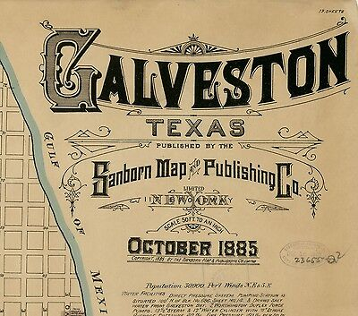Galveston, Texas~Sanborn Map© sheets~ 1885 in ful color on a CD 19 MAPS
