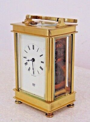 Vintage Dent London Carriage Clock Mantel Mantle Clear Sides Collectable Used