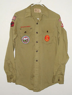 1970's Boy Scouts of America Uniform Shirt Green L/S Mens M Grand Junction CO