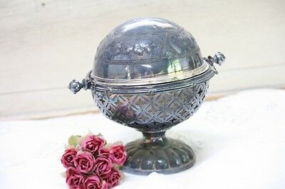 Antique Silverplate Butter Dish Server Dome Flip Lid Monogrammed Footed on Stand