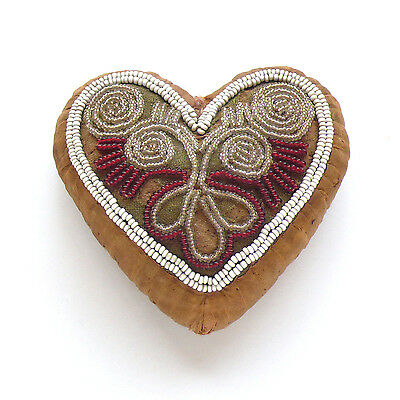 19th c. Beaded Whimsy Heart Pin Cushion Iroquois / Seneca Native American ~ AAFA