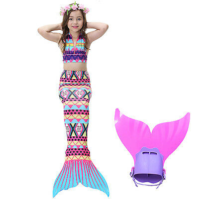 Kids girls Mermaid Tail 3pcs Bikini set Swimwear Swimming swimsuit Monofin New