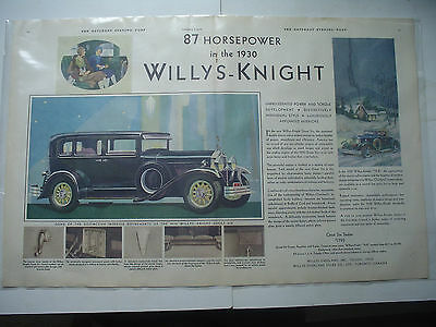 "1930 87 HP, Willys-Knight automobile, Magazine Ad. Centerfold ad- 21-1/2"" x 14""."