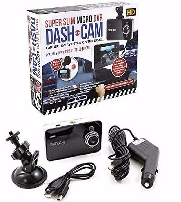 """NEW SuperSlim Micro DVR HD Dash Cam 2.4"""" LCD Screen Capture All Details Security"""