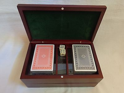 NIB ~ Poker Set w/Chips, Cards, Dice in Wooden Box