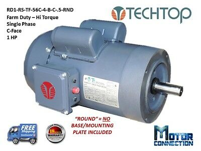 1/2 HP Electric Motor, Farm Duty, 1800RPM,  Single Phase, 56C - C-Face, Round