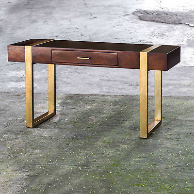 """56"""" w Matthew Writing Desk solid mango wood hand crafted antiqued gold finish"""