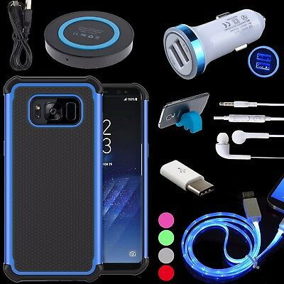 Rubber Matte Case + Charger + Sync Cable + Stand for Samsung Galaxy S8, Plus