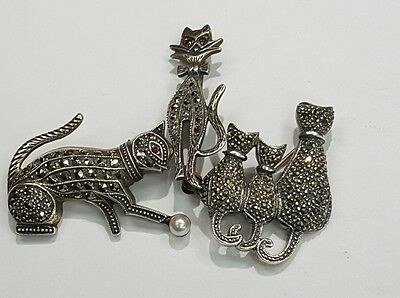 Cat Lovers  Three Beautiful Marcasite Cat Pins