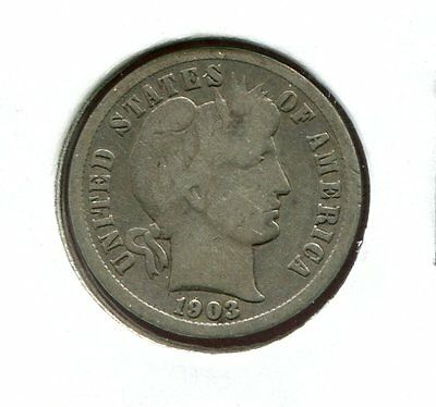 1903 P Barber/Liberty Head 90% Silver Dime  (Combined Shipping $2.95)
