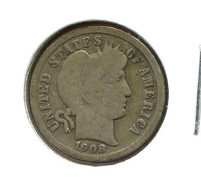 1908 D Barber/Liberty Head 90% Silver Dime  (Combined Shipping $2.95)