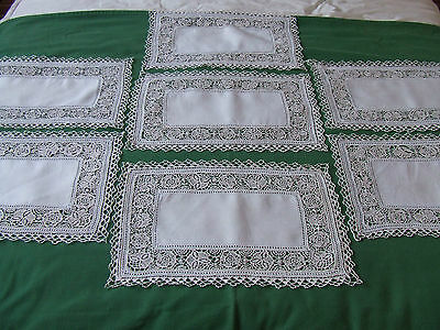 set of 7 vintage hand made italian reticella placemats