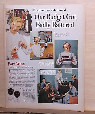 1949 magazine ad for Port Wine - On A Budget? Serve Port Wine, Adds So Much