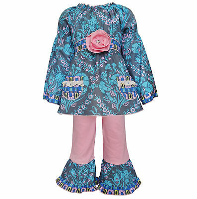 AnnLoren Toddler Girls Boutique 4/5T Floral Damask Tunic and Legging Outfit